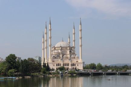Sabancı Central Mosque in Adana, Turkey ... Credit ... Menson Charles le Bon, Antalya, Turkey ... The photo is taken from ... https://pixabay.com/en/water-river-architecture-sky-3099387/