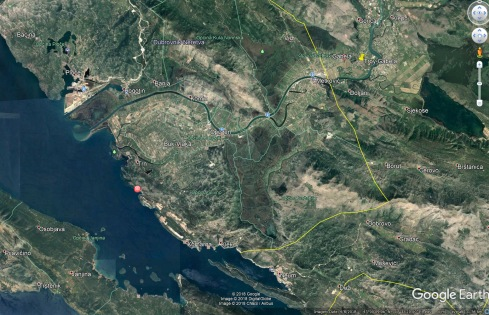 Location of the Troy on the Neretva River. Snapshot taken from Google Earth.